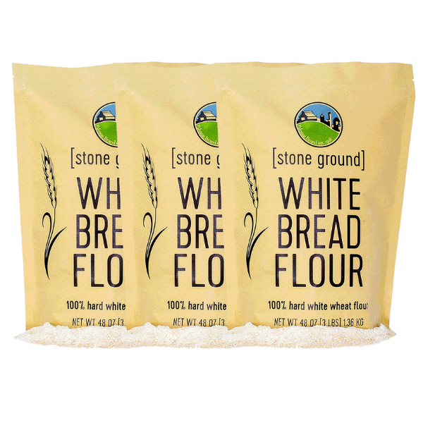 Photo of Stone Ground Whole Wheat Flour – 3 – 3 lb Hard White Wheat Flour Bundle