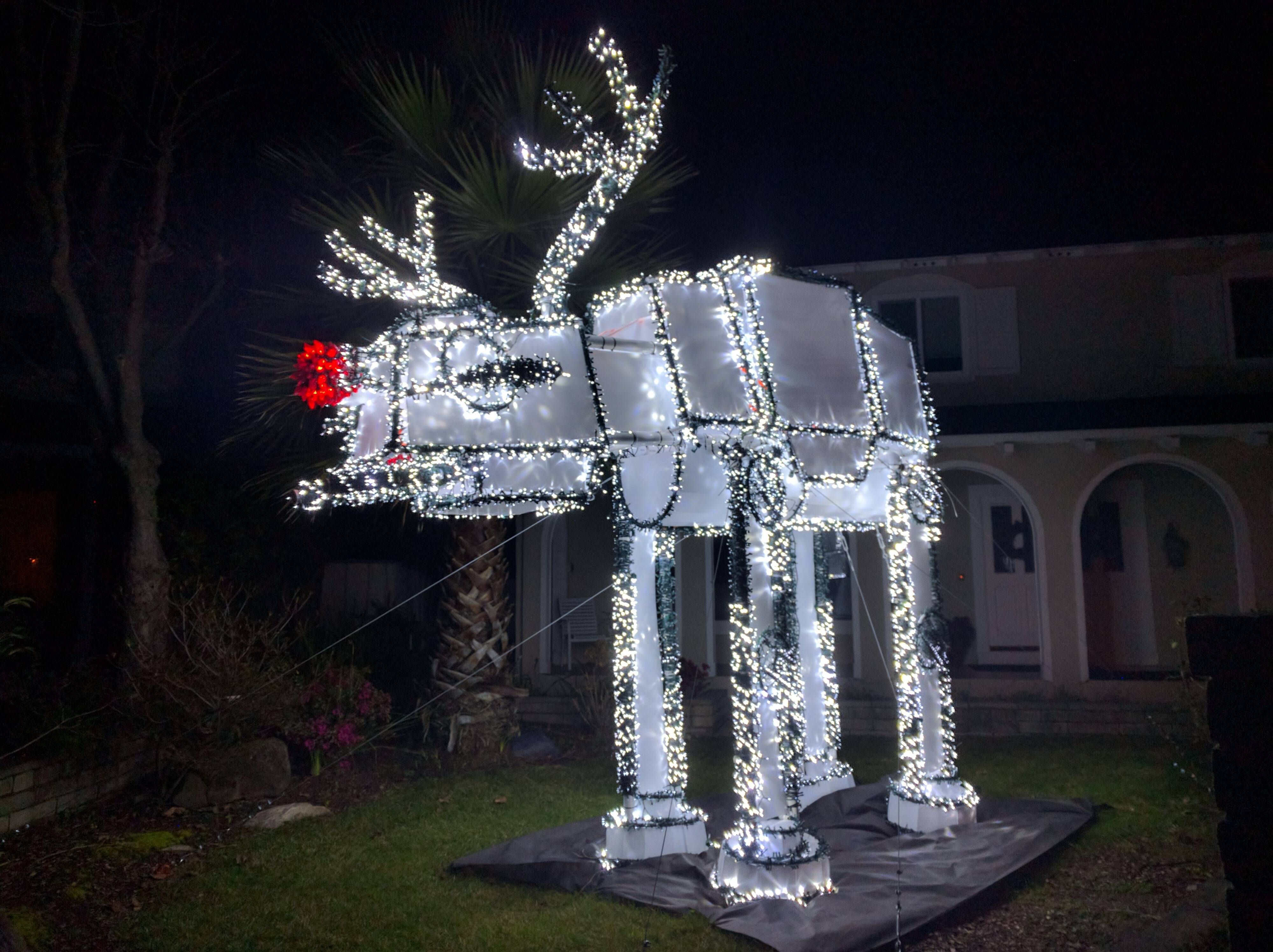 Rudolph The Giant Red Nosed Star Wars At At Christmas Light Reindeer Star Wars Christmas Decorations Star Wars Christmas Lights Star Wars Christmas Tree