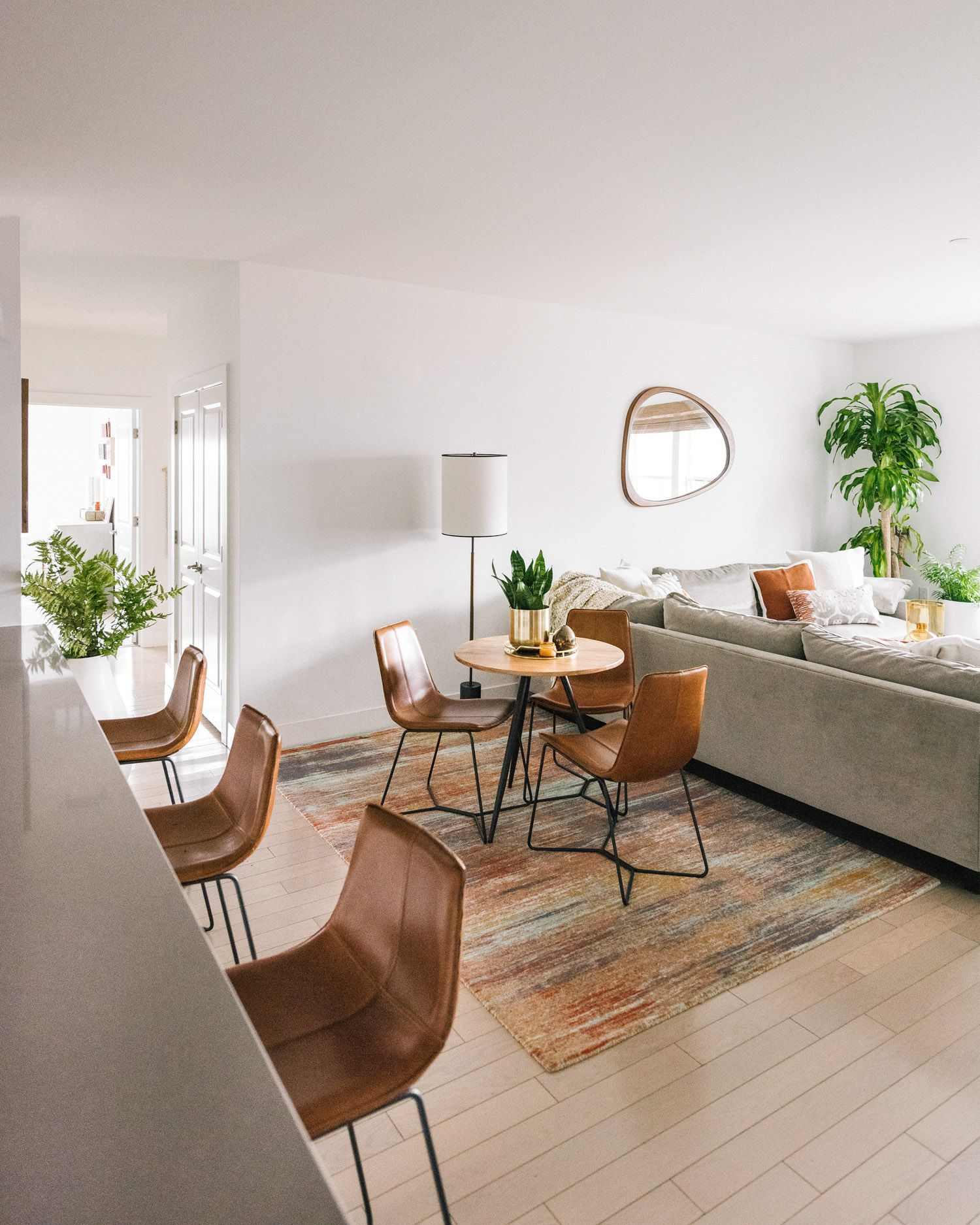 Design Crew Natural Hues Waterfront Views In Port Chester New York Front Main Apartment Dining Minimalist Living Room Decor Home