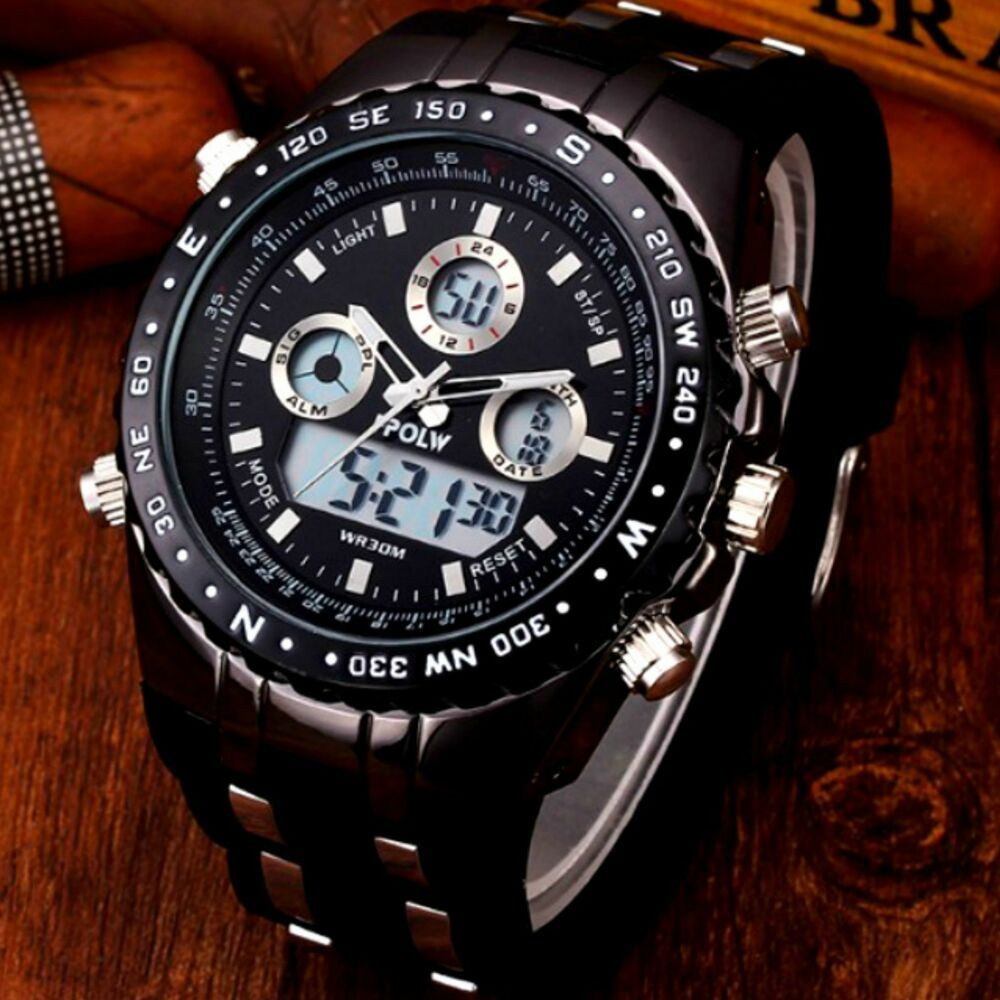 Mens Watch Multifunction 30m Water Resistant Analog Digital Led Hpolw Army Sport Hplow Military In 2020 Watches For Men Classic Watches Men Automatic Watches For Men
