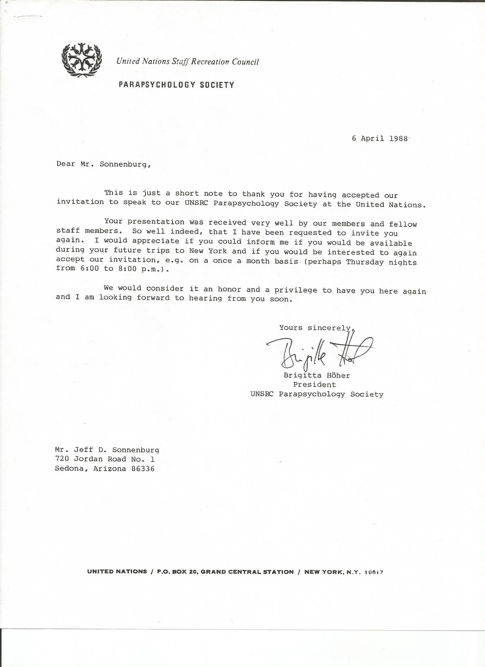 Jeff Sonnenburg results letter of reference from UN, 6th