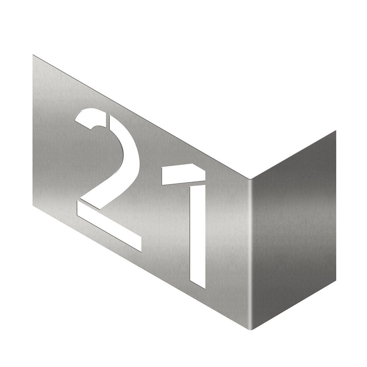 Moderne Hausnummern Edelstahl moderne design hausnummer aus edelstahl v2a zur eckmontage die