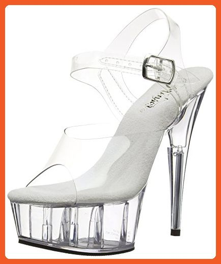 67485c7dbcd6b Pleaser Women's Delight-608 Ankle-Strap Sandal,Clear/Clear,7 M US ...