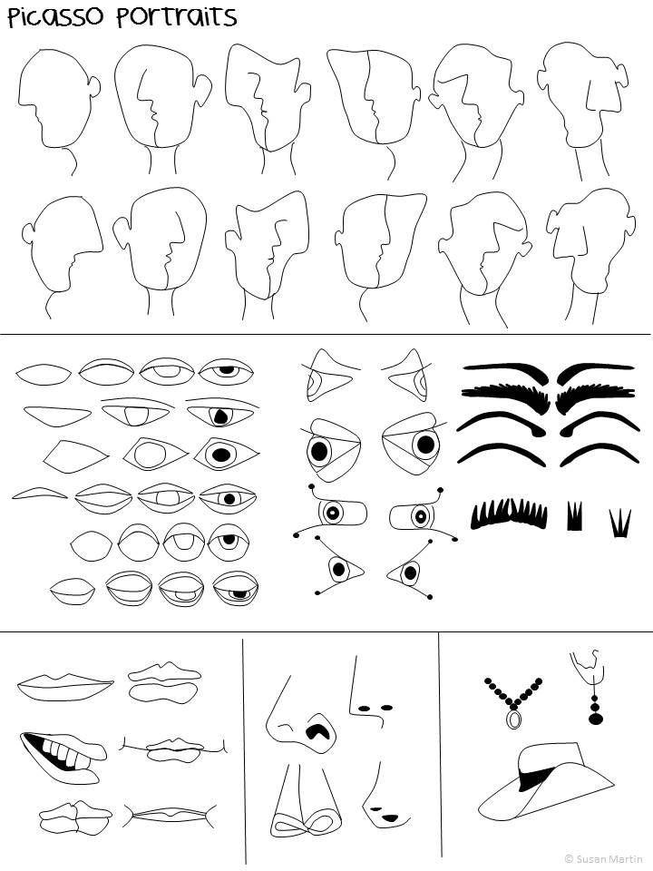 se dessiner la mani re de picasso bricolage d 39 cole art picasso cubisme et arts visuels. Black Bedroom Furniture Sets. Home Design Ideas