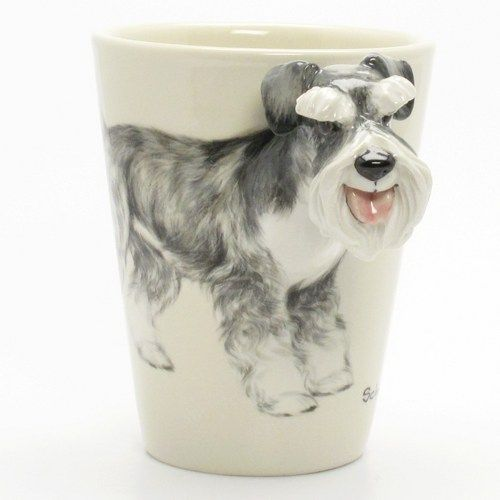 Crafts For Dog Lovers: Schnauzer Dog Coffee Cup Handmade Pet Lover Craft Decor