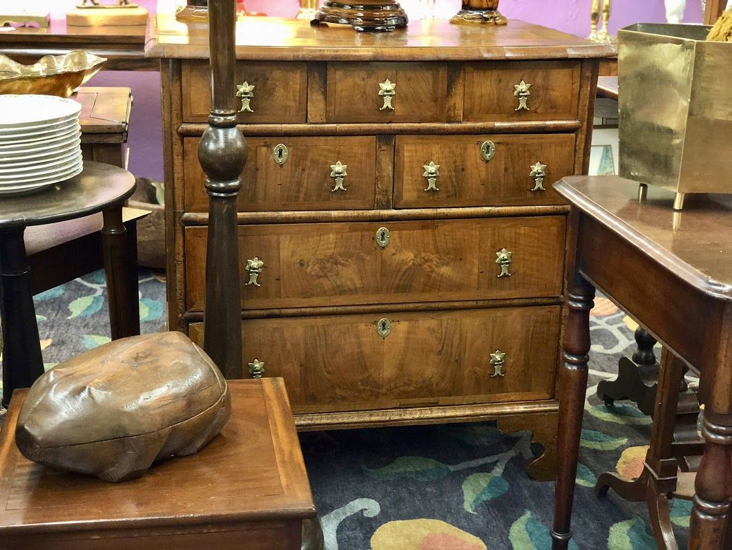 Early th century english walnut chest of drawers with period hand