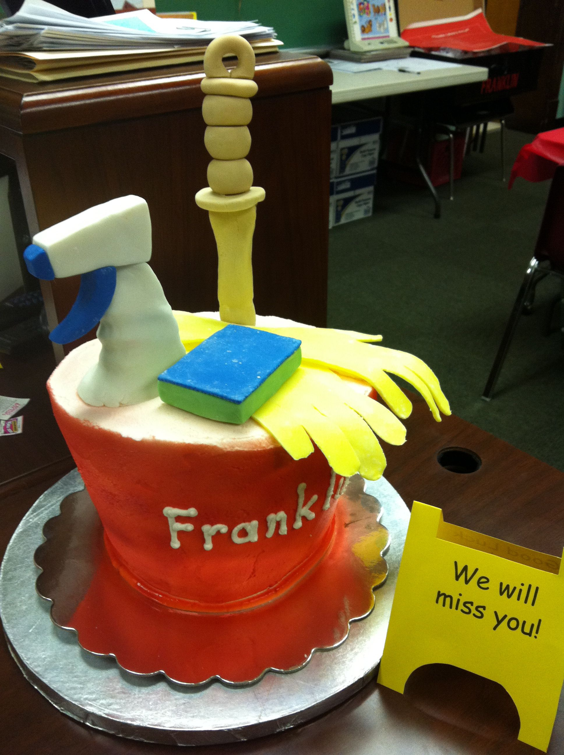 kinder class gift to custodian for retirement this cake was made for a custodian that was leaving