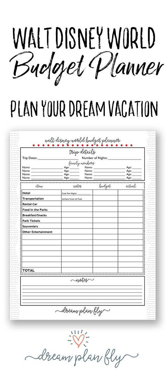 Disney World Budget Planner - Create Your Own Printable Walt Disney ...