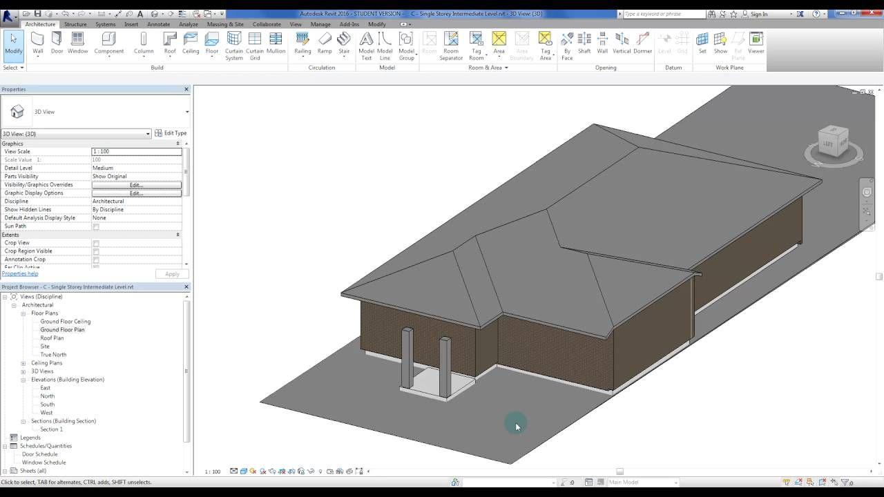 Revit - Single Storey Intermediate 16: Roof Joining Tool ...