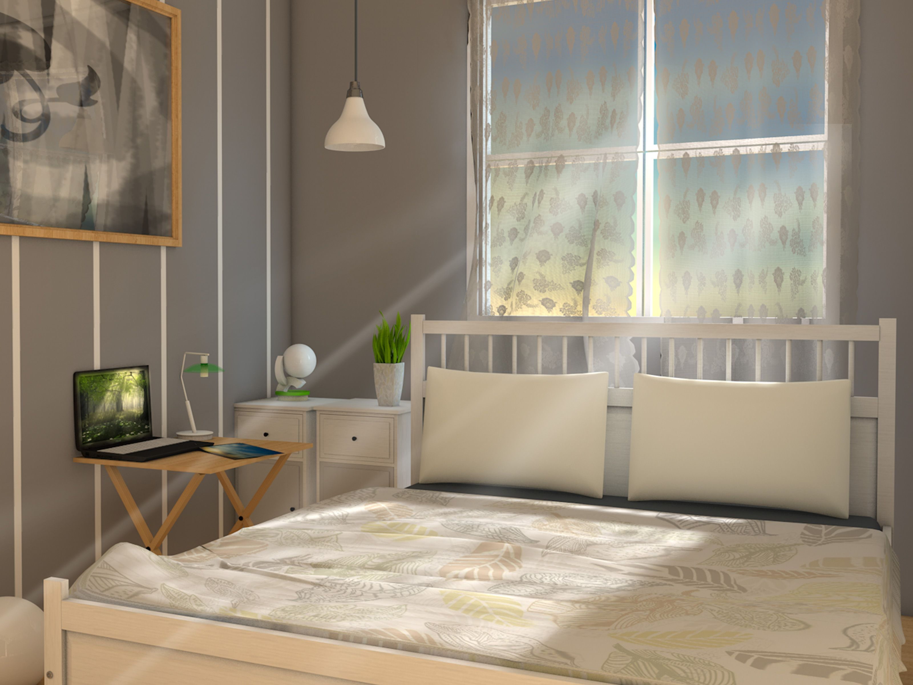 Bedroom Pendant Light Glass Window Wooden Side Table White Sidebed