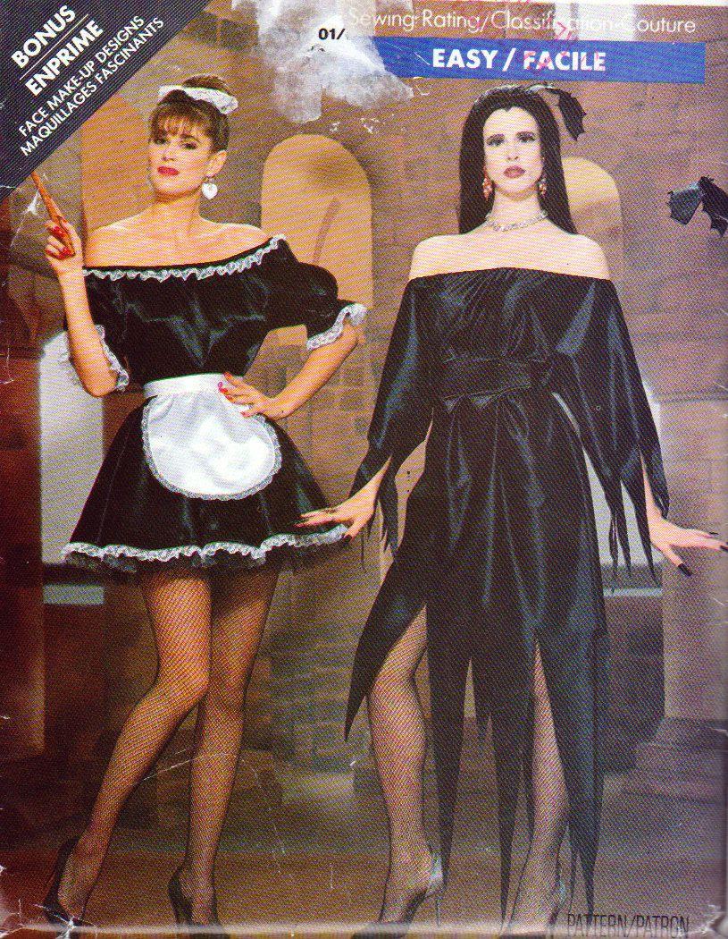 Elvira french maid witch costume patterns ladies sizes