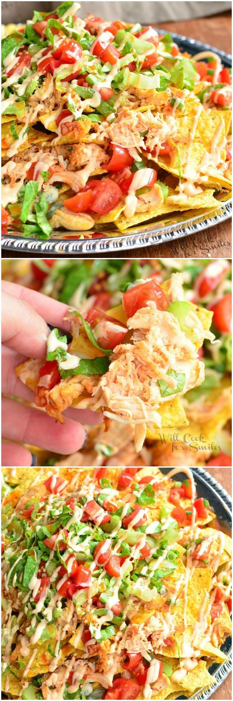 Buffalo Chicken Nachos recipe made with crispy tortilla chips, spicy buffalo sauce coated shredded chicken, blue cheese, veggies, more cheese and buffalo ranch dressing. #nachos #chicken #spicy #buffalochicken #chickennachos #buffalochickennachos