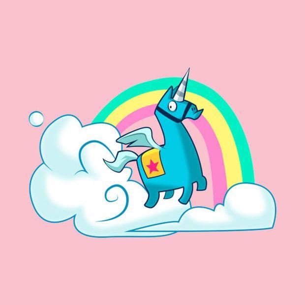 Fortnite Brite Bomber Unicorn TShirt Rainbow Smash