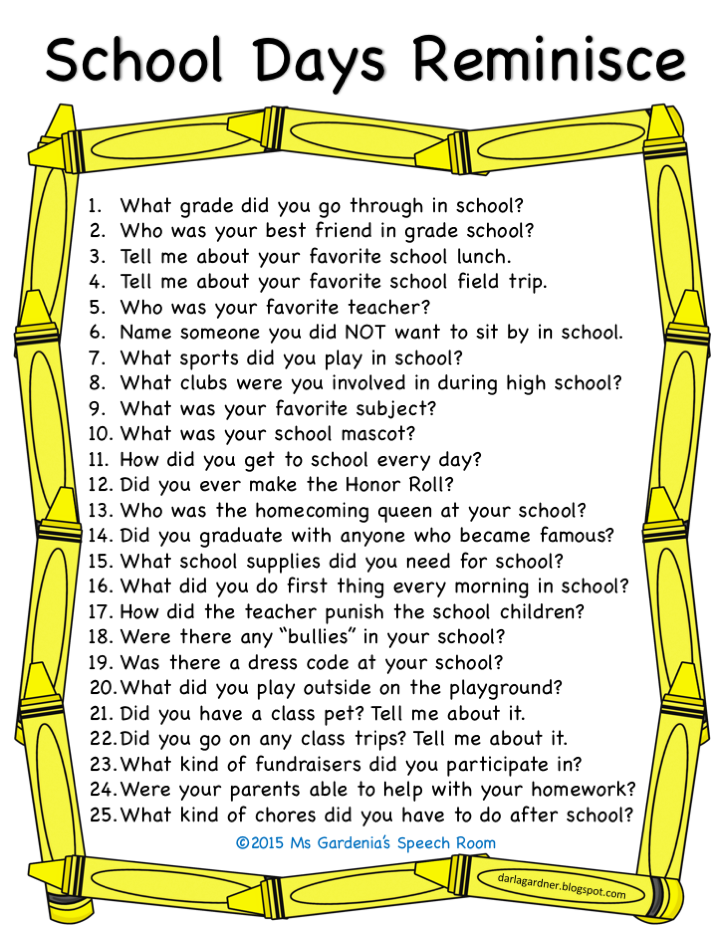Free printable school days reminisce activity skilled for Questions for home builders