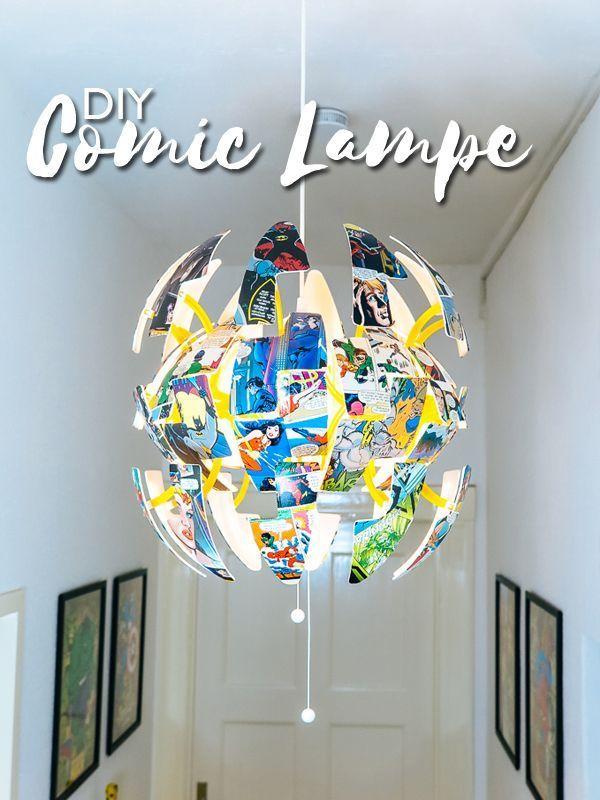 Ikea Hack Dc Comic Lampe Selber Machen Mit Uhu In 2020 Ikea Hack Marvel Diy Ikea Lamp