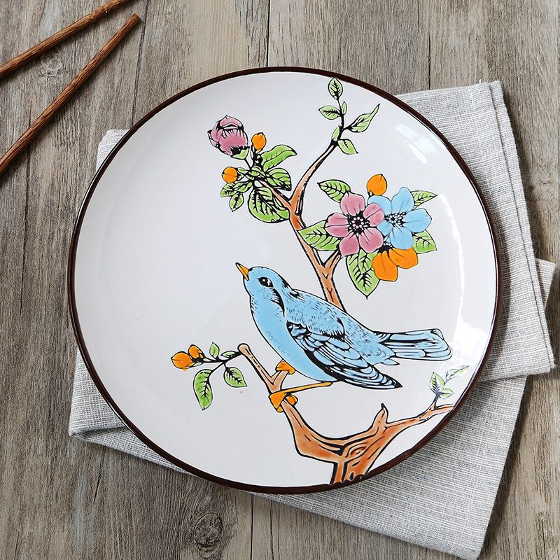 Hand painting ceramic plate personality western dish unique fashion set vintage hanging plate dinner plate bird & Hand painting ceramic plate personality western dish unique fashion ...