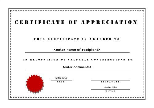 Certificates Of Appreciation   A Landscape  Stencil