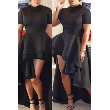 Usd1304 Stylish Mandarin Collar Asymmetrical Falbala Design Black