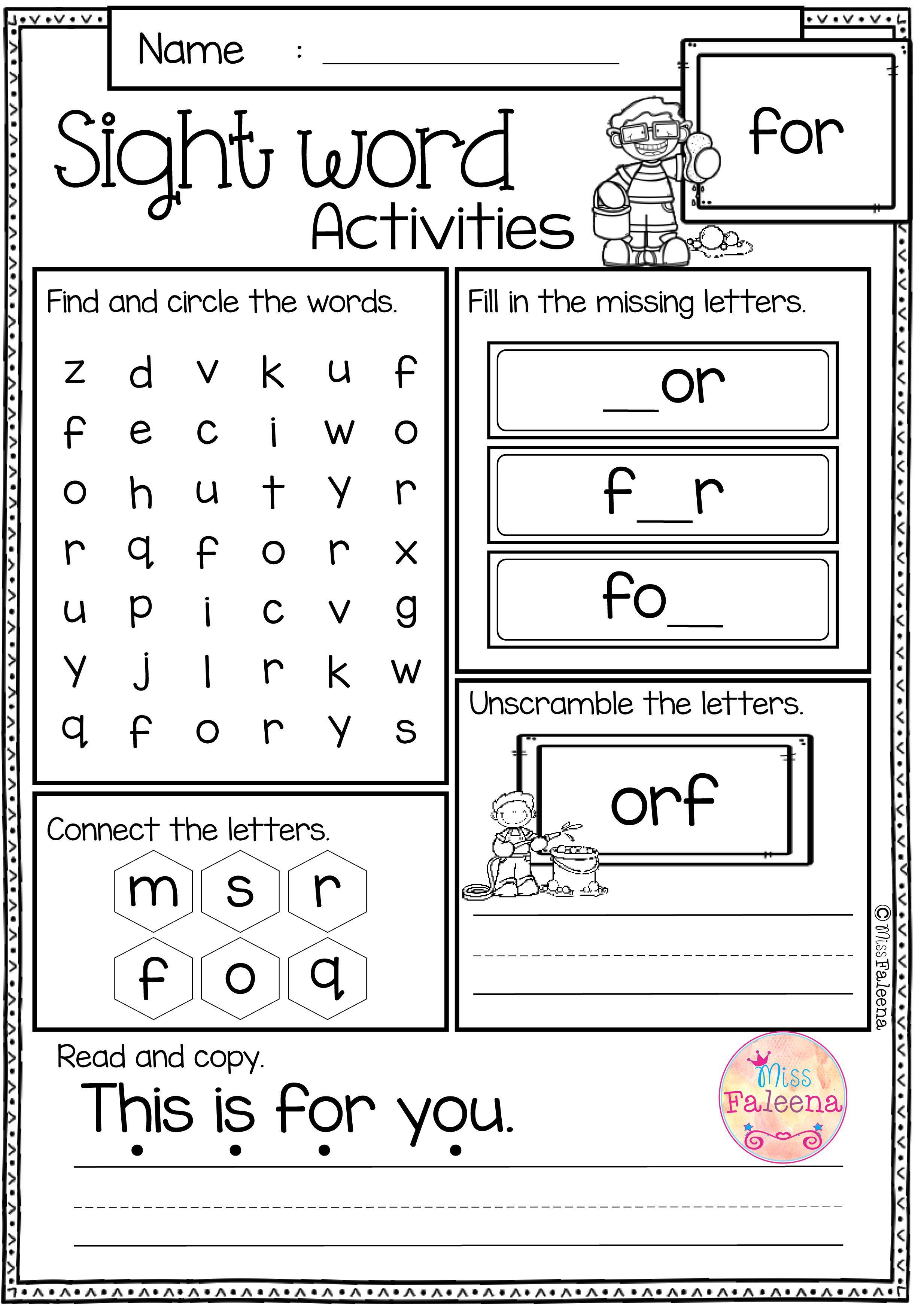 Free Sight Word Activities Sight Words Kindergarten Sight Word Worksheets Word Activities [ 3485 x 2468 Pixel ]