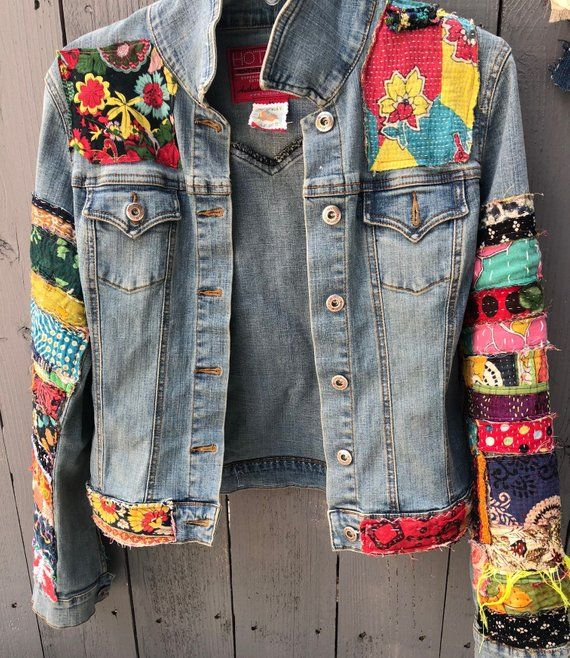 jean jacket hippie boho embellished colorful denim jean jacket #jeanjacketoutfits