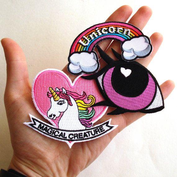 Unicorn Patch Set Pony Eye Patch Rainbow Patch by FatallyFeminine