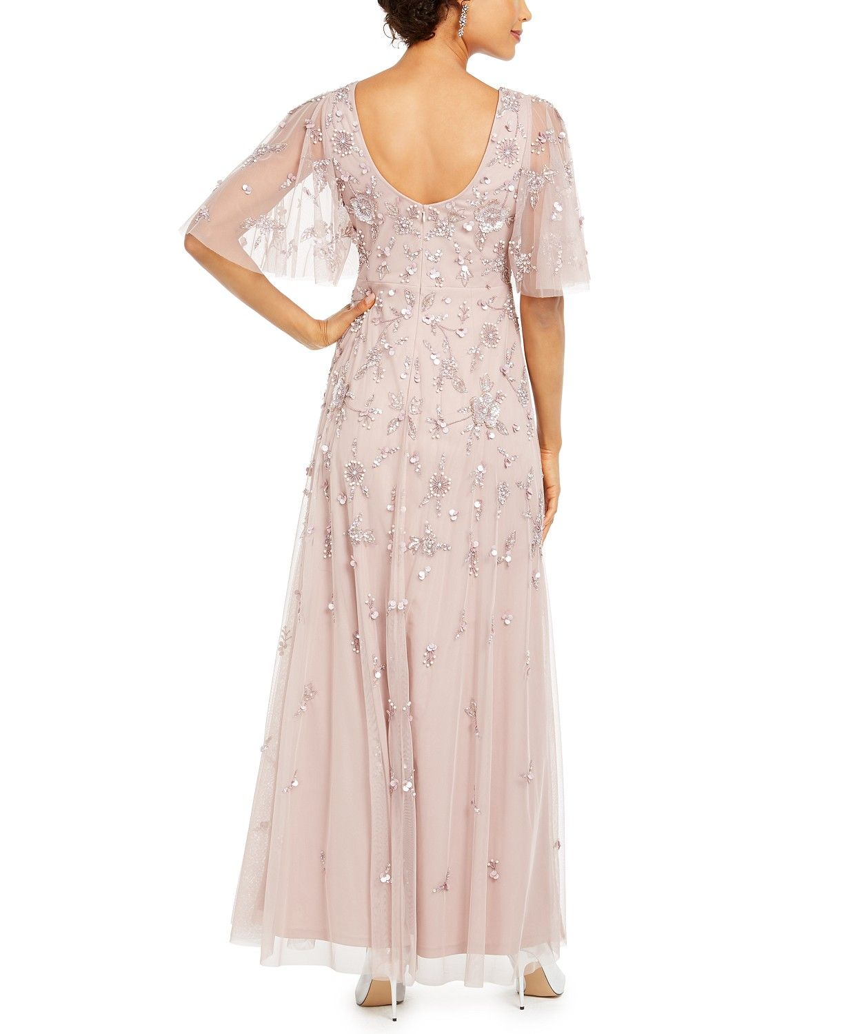 Adrianna Papell Beaded Mesh Gown Reviews Dresses Women Macy S In 2020 Review Dresses Womens Dresses Gowns