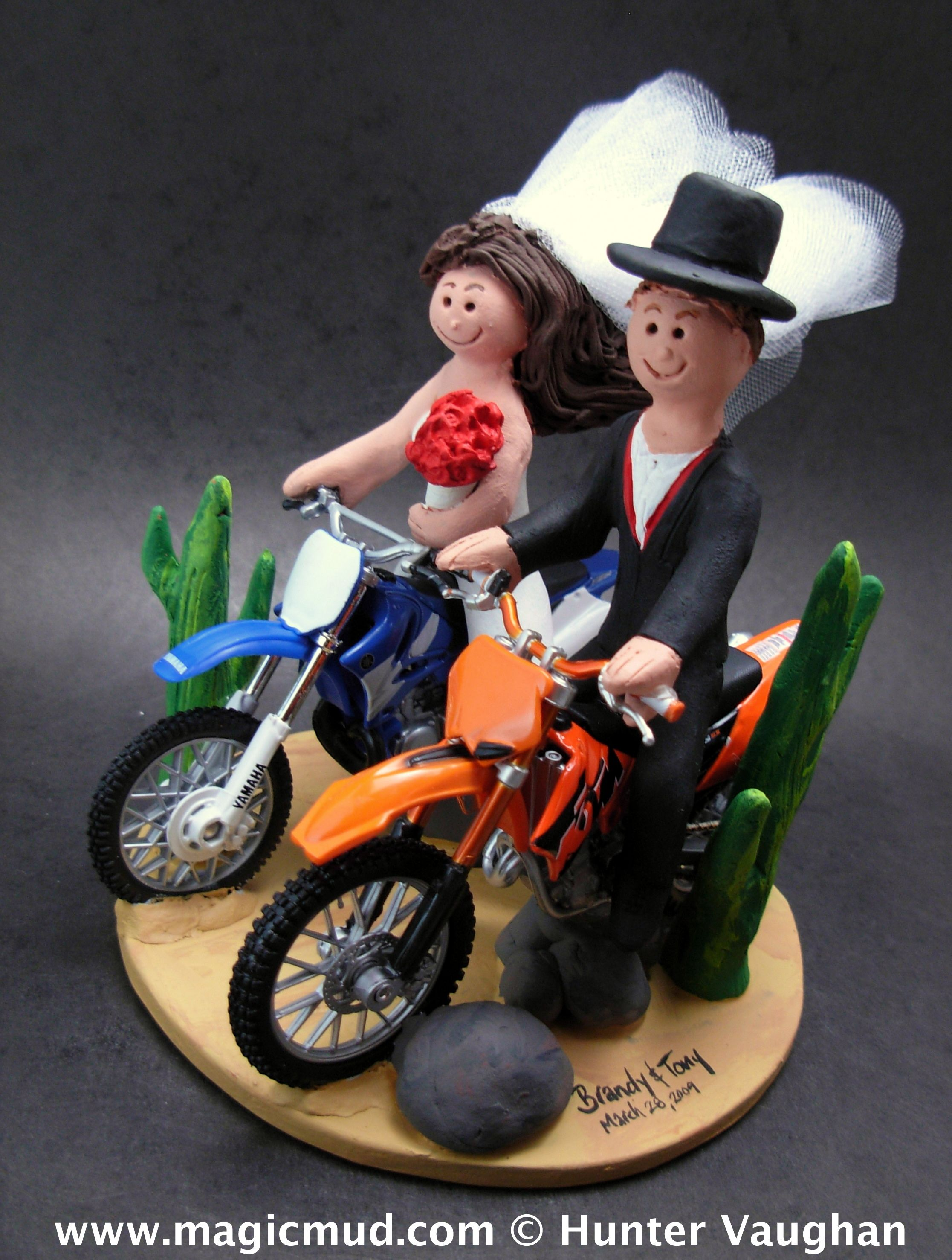 Suzuki and KTM Motorcycle Wedding Cake Topper http://www.magicmud ...