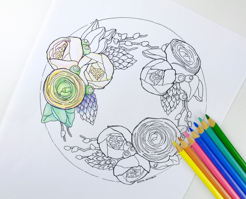 Buttercream Ranunculus Flower Cake Coloring Page For Adults Hand Drawn Line Art By Olga Zaytseva Instant Download By Olgazaytsevaart Kleuren Bloemen Potlood