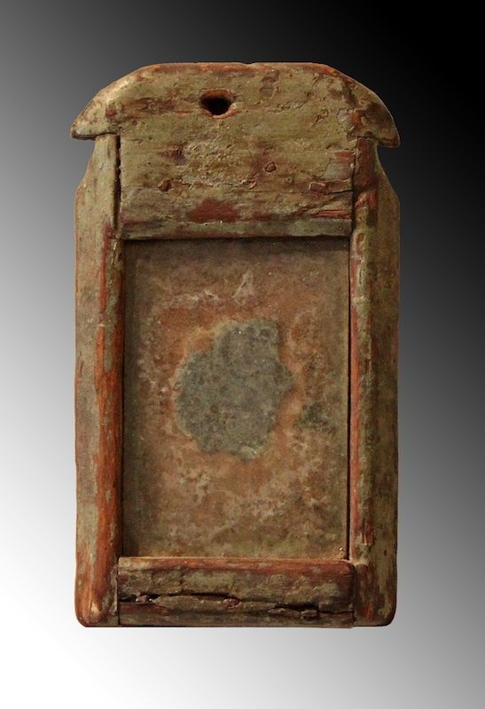 18th C Queen Anne Mirror Of Small Size In Original Grey Green