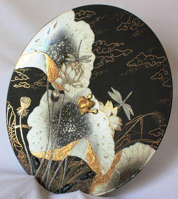 peinture sur porcelaine or mat noir mat couleurs m talliques i relief t cnicas e. Black Bedroom Furniture Sets. Home Design Ideas