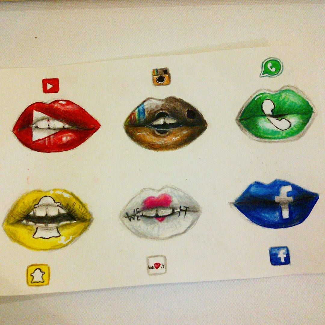 Lips [as YouTube, Instagram, WhatsApp, Snapchat, We Heart
