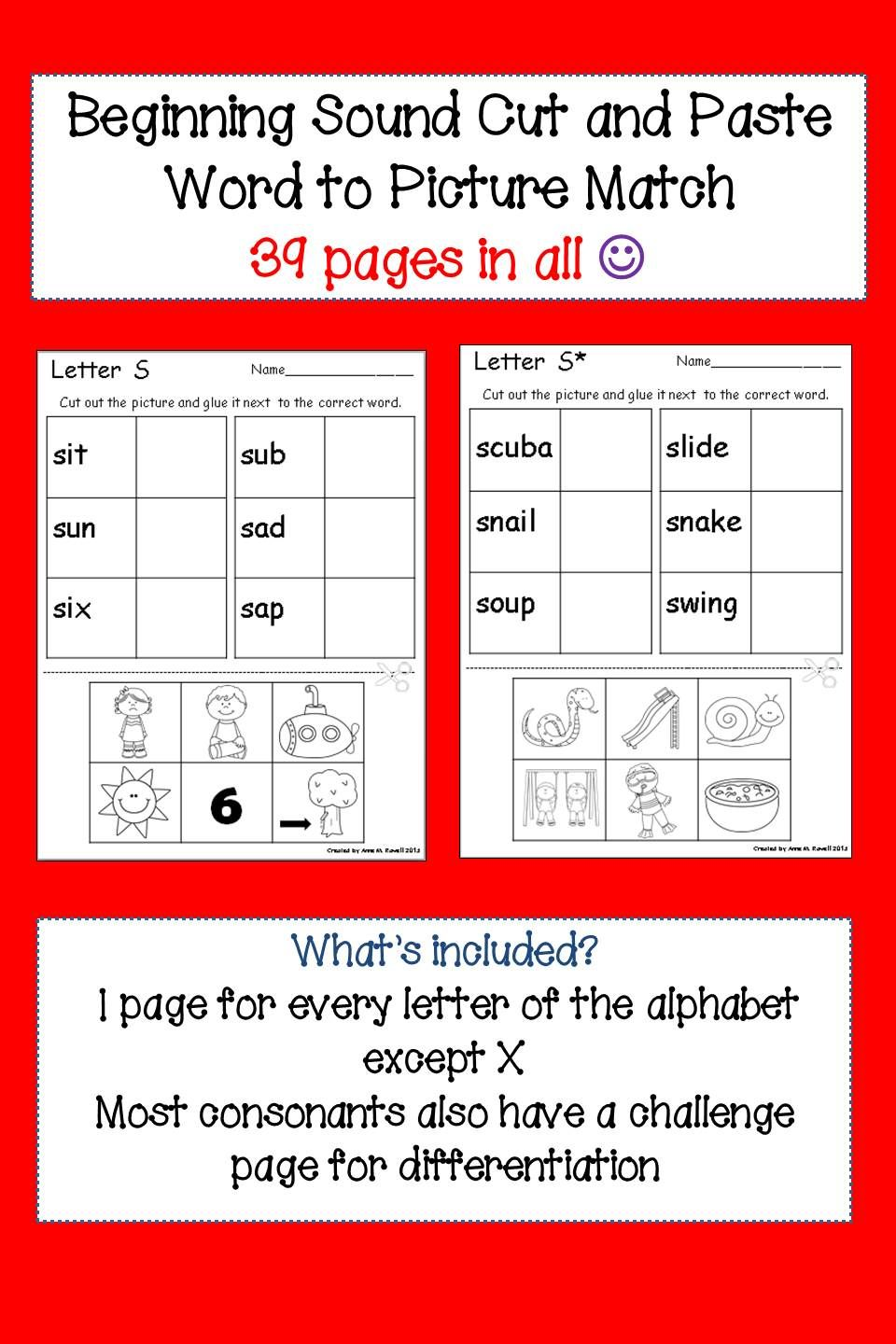 Beginning Sound Worksheets Cut And Paste Back To School Tpt Pre