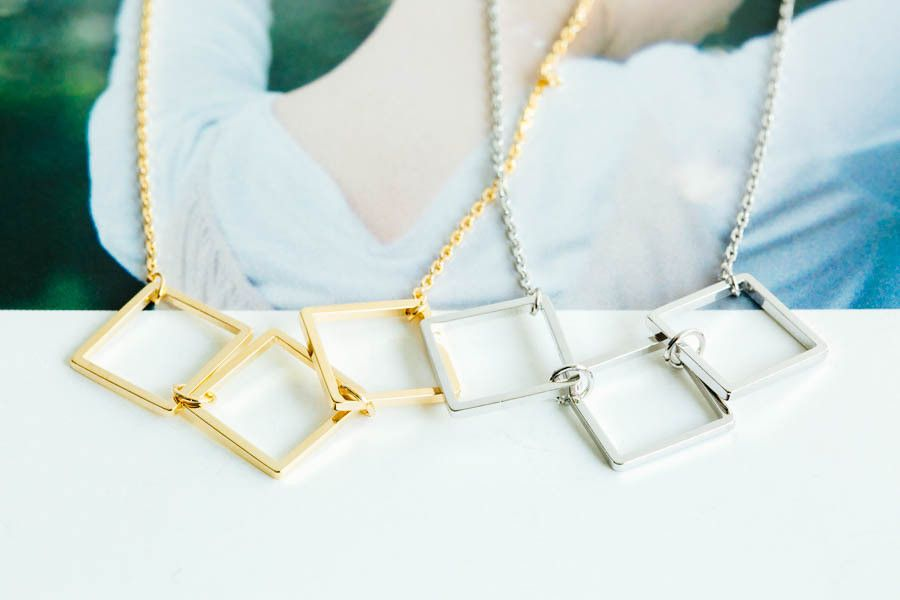 3 Square Necklace-lp -The Square shape (■) is comprised of straight lines. It is a symbol of stasis, fixation and immutability. Some conceptual insights into the stabilizing energy of the square include Earth, Security, Structure, and order. The Square shape jewelry will make you more classy and polished! Be beauty with Alllick :-)