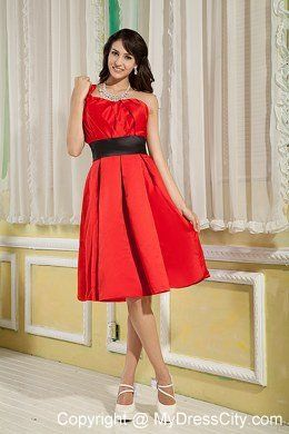 Red Knee-length Ruched Homecoming Dress A-line One Shoulder - MyDressCity.com