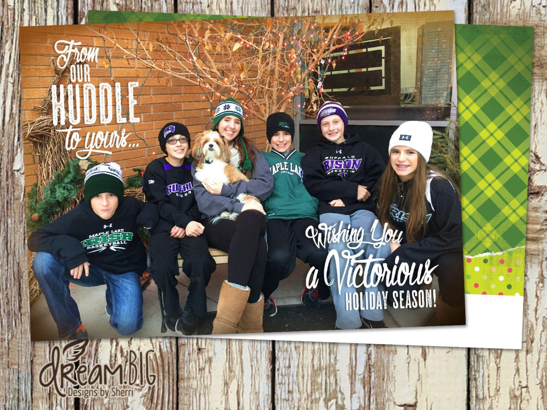 Sport Theme Holiday Photo Card 2 Sided Christmas Photo Card Etsy Holiday Photo Cards Christmas Photo Cards Photo Cards Diy