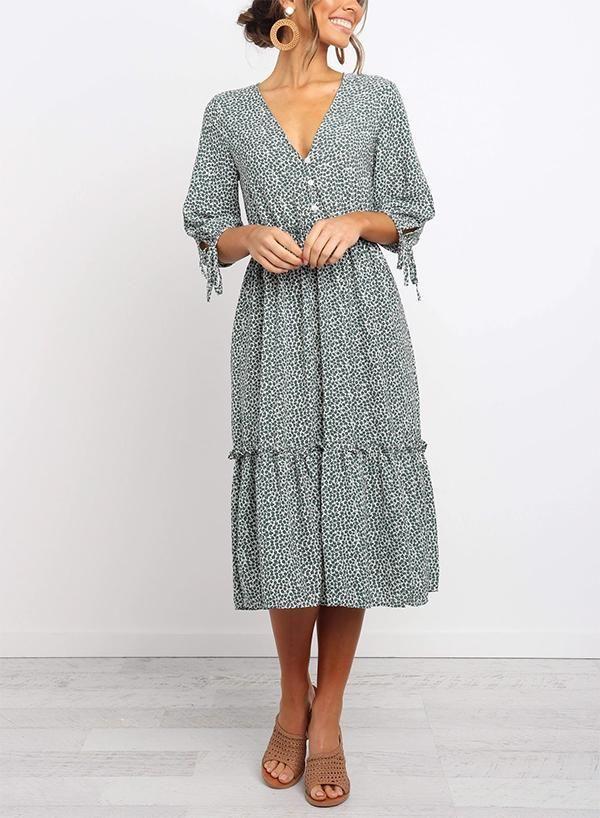 Photo of V-Neckline Floral Midi Dress