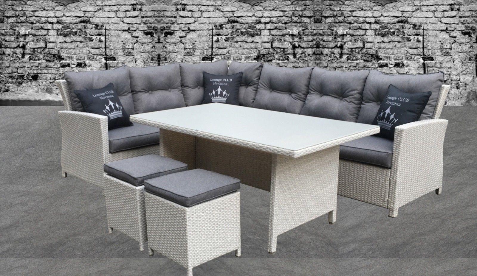 Entzuckend Gartenmöbel Lounge Set Sitzgruppe Alu Garnitur Ecklounge Hoher Tisch Rattan
