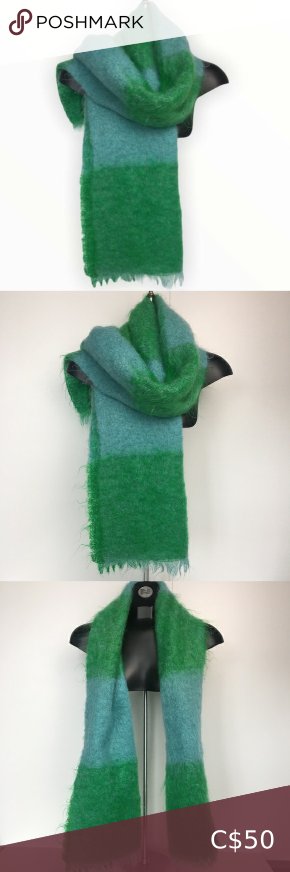 Photo of Vintage Mohair Wool Large Scarf Shawl Green & Blue