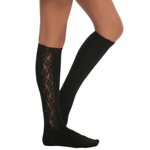 LOVEsick Black Lace Side Panel Knee-High Socks | Hot Topic (11 AUD) ❤ liked on Polyvore featuring intimates, hosiery, socks, lacy socks, knee-high socks, lace knee high socks, lace knee socks and lace socks