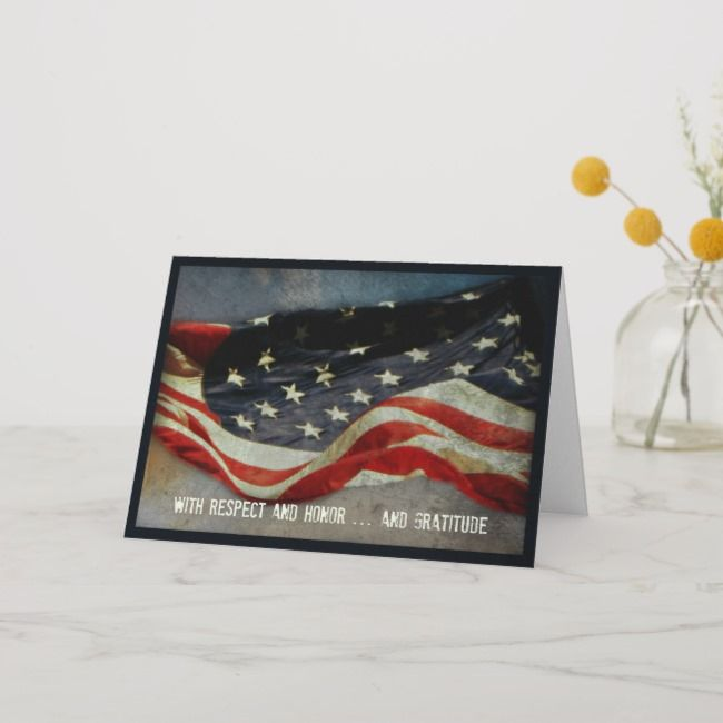 With Respect, Honor - Thank You Veterans Day Card | Zazzle.com