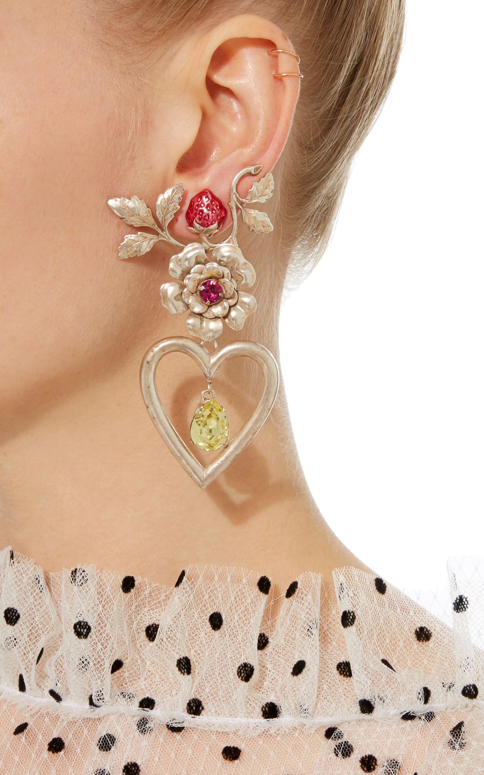 Rodarte Silver Flower Heart And Strawberry Earrings With Swarovski Crystal Details