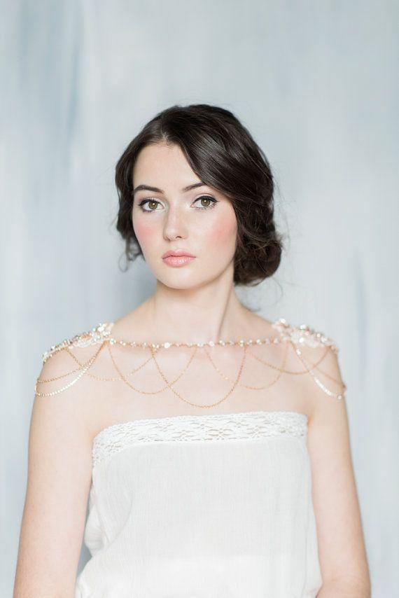 Rose Gold Shoulder Necklace Rhinestone Shoulder Jewelry Bridal