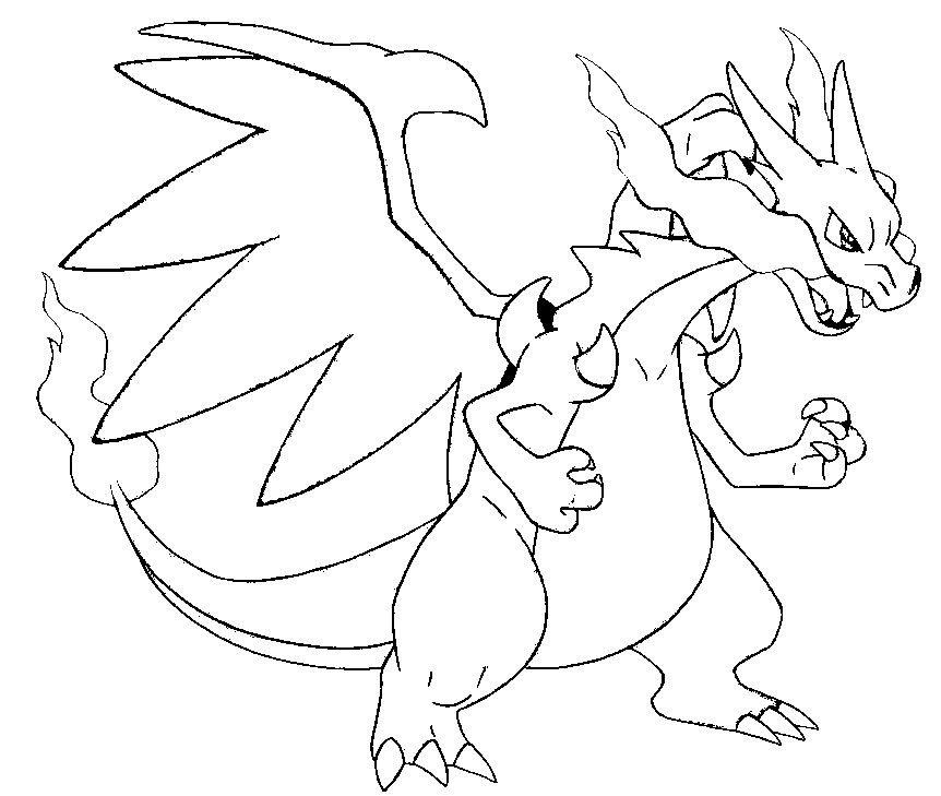 coloring page mega evolved pokemon mega x charizard 6 6 - Pokemon Charmander Coloring Pages