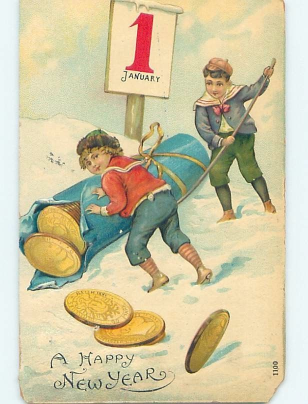 Chipped Pre Linen New Year Boys Unrolling Huge Role of Gold Coins HL1282 | eBay
