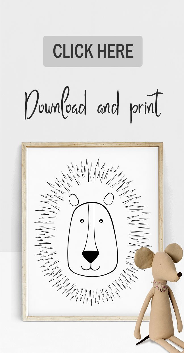 Line art lion poster animal nursery prints lion nursery art