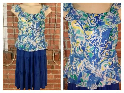 Ralph Lauren white/blue/yellow print, 100% silk ruffle collar top 14 $10; St. John's Bay royal blue full skirt PXL  $10