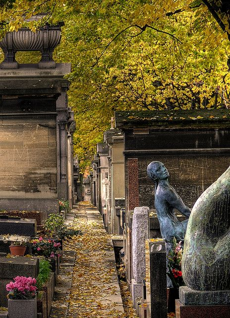 Cimetière du Père-Lachaise, Paris, France. Père-Lachaise Cemetery opened in 1804 and today it is one of the world's largest and most famous cemeteries.