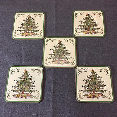 Lot of 5 Spode Christmas Tree Coasters in Box Cork Back Made in