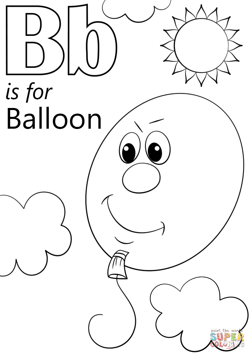 Letter B is for Balloon coloring page from Letter B