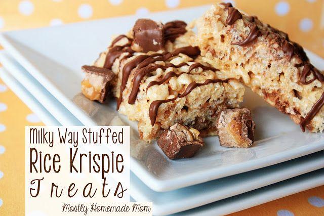 Milky Way Stuffed Rice Krispie Treats www.mostlyhomemademom.com